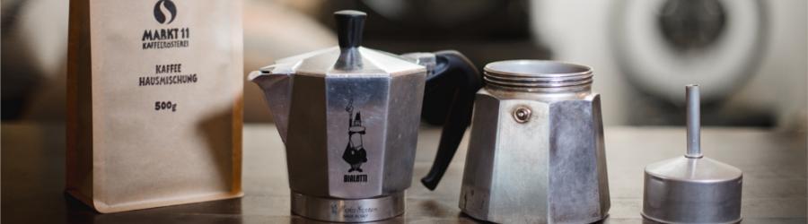 In dieser Übersicht sieht Du alle Einzelteile eines Espressokochers, die Du für die Esspressozubereitung brauchst.