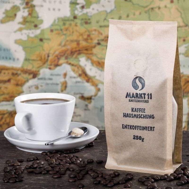 Unsere Kaffee Hausmischung gibt es auch entkoffeiniert