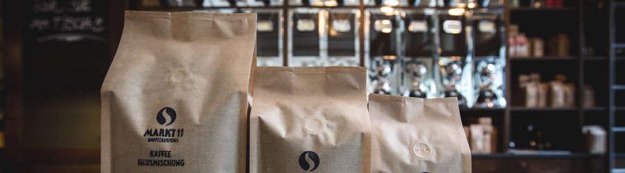 Kafffe Hausmischung in Kaffeepackungen zum Lagern