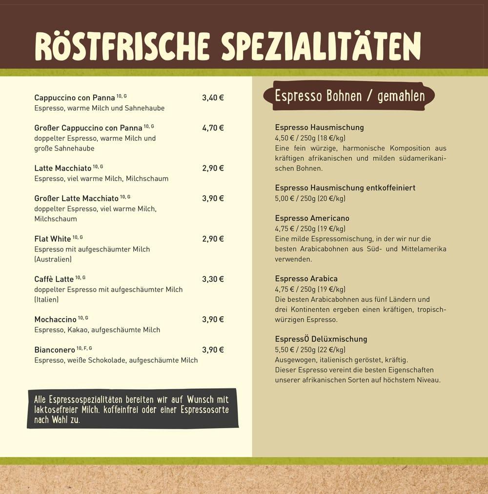 Getränkekarte Kaffeehaus Jena - Kaffee Shop Markt 11